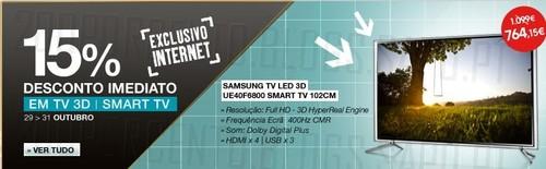 15% de desconto imediato | FNAC | TV's 3d e smart