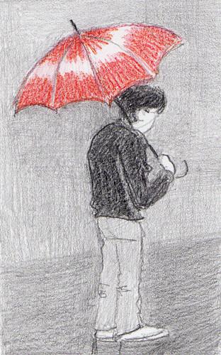guarda chuva vermelho