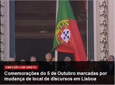 Bandeira nacional ao contrário nas comemorações do 5 de Outubro