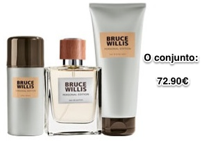 O conjunto é constituído por Eau de Parfum, Gel After Shave Cremoso, Champô e Gel de Banho