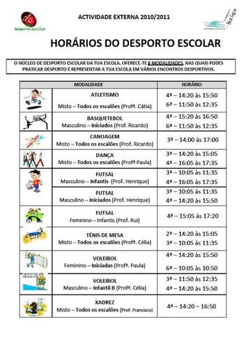 Horários Desporto Escolar 2010-2011