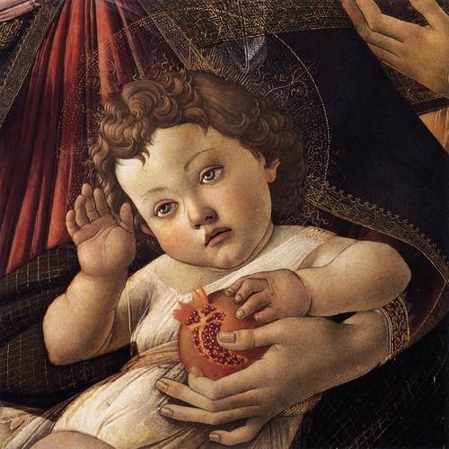 «Madona e menino» (Pormenor), sandro Botticelli.