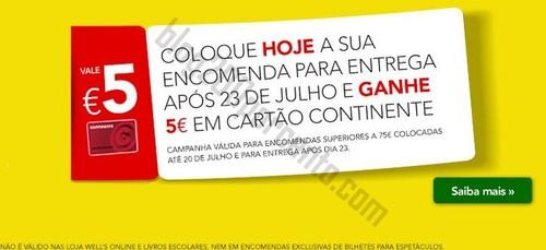 5€ em cartão CONTINENTE até dia 20 julho - Online
