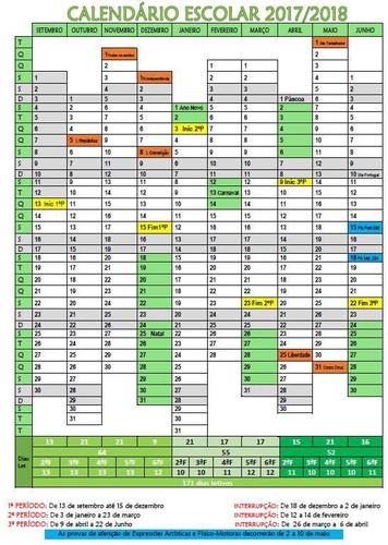 Calendário Escolar 2017-2018 Descarrega AQUI