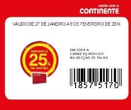 Acumulação Super-Preço + 25% | CONTINENTE | talho - novilho, só dia 27 janeiro