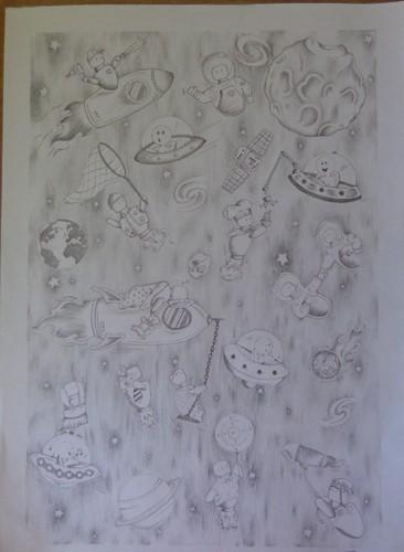 desenho espaço a grafite