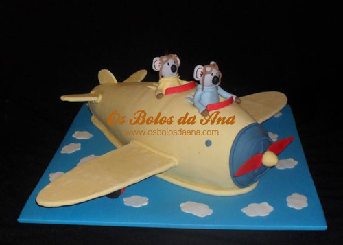 bolo aviao, bolo decorado aviao, Bolo koalas, Bolo aviao koalas, bolo irmãos koala