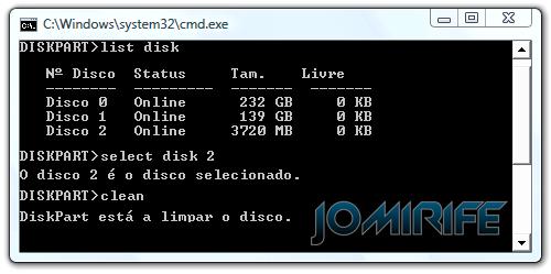 Recuperar a capacidade total do cartão SD ou Pen drive com o DiskPart