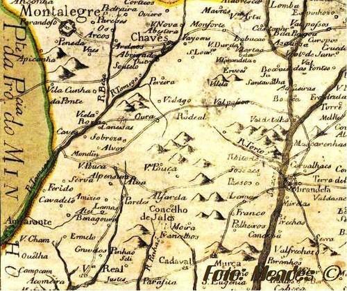 Serva - Cerva em mapa do Sec. XVIII
