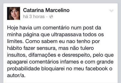 Catarina Marcelino e o Facebook