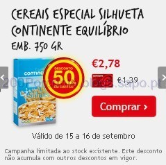 50% em Cereais Continente Equilíbrio