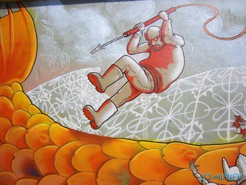 Arte Urbana by Mário Belém - Peixe laranja/Imaginário no CAE na Figueira da Foz Portugal - Elemento atacar o peixe (14) [en] Urban art by Mário Belém - Orange Fish/Imaginary in Art Center Figueira da Foz, Portugal