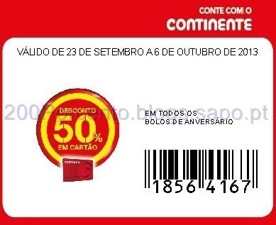 50% em Bolos de Aniversário cupão continente