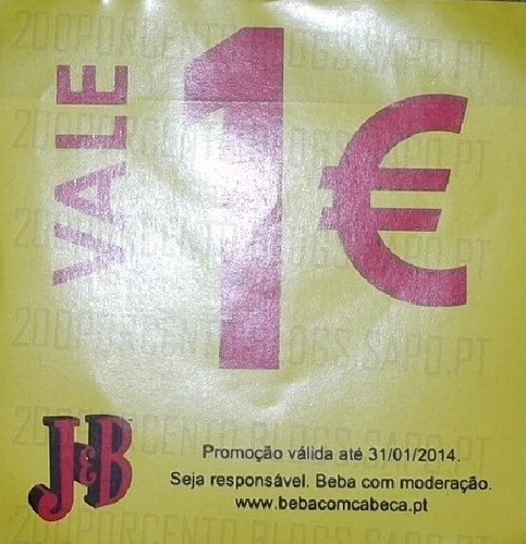 Vale de desconto 1€ | J&B | válido até 31/01/2014