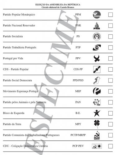 Boletim de voto - eleições legislativas 2011