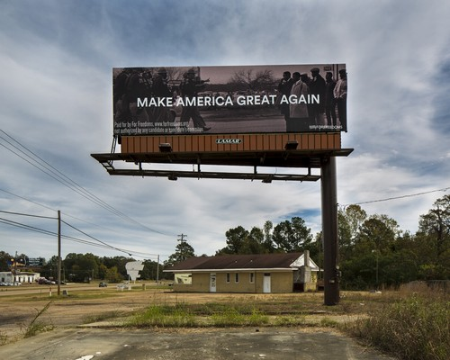 The For Freedoms billboard near Pearl, Mississippi