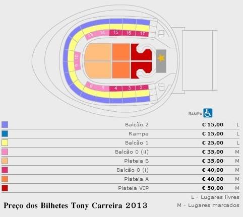 Preço dos bilhetes concerto tony carreira em Lisboa - Março 2013