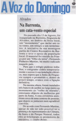 relogio barrenta voz do domingo