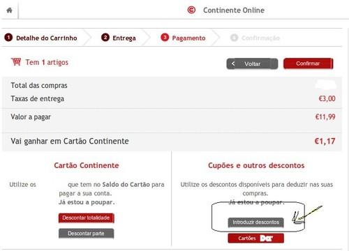 Comprar online | CONTINENTE | onde inserir os códigos dos vales