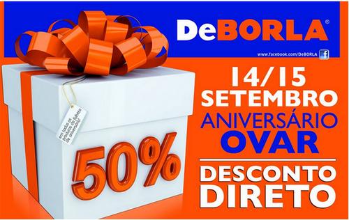 50% no DeBorla no Folheto de Aniversário
