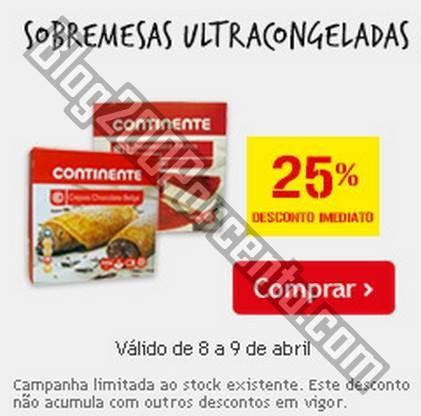 25% de desconto imediato   CONTINENTE   Sobremesas Ultracongeladas