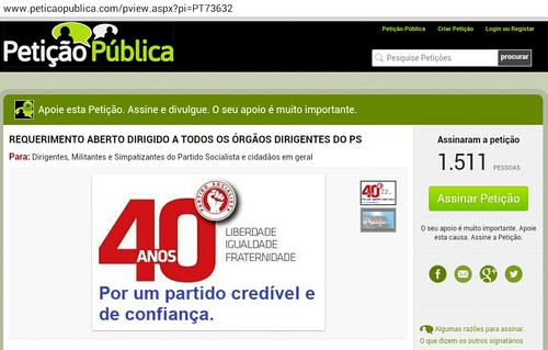 petição publica congresso e eleicoes no PS António Costa e José Seguro