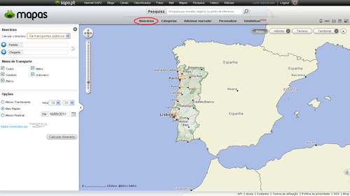 Itinerários SAPO Mapas