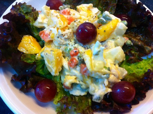 Salada de Frango e Pêssego, versão fast food