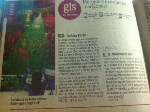 Lesboa Party [brazilian tour] em destaque no Guia GLS da Folha de São Paulo