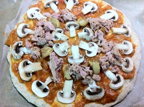 Pizza Integral Atum Cogumelos Espinafres