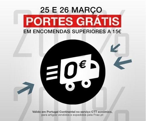 Portes grátis | FNAC | dias 25 e 26 março