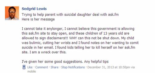 Pedido de ajuda feito pelo meu amigo Sedgrid Lewis no grupo Social Networking Safety, no Facebook, na noite de passagem de ano