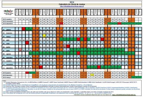 Calend rio do oficial de justi a 2014 oficial de justi a for Calendario ferias