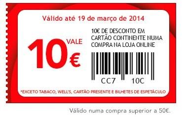 cupão de 10€ desconto | CONTINENTE | Online até 19 março