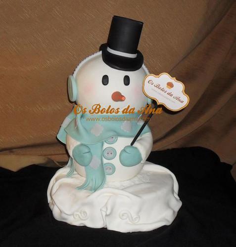 Bolo Decorado 3D Boneco de Neve
