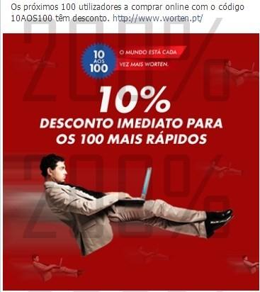 Rápido 10% desconto | WORTEN | para 100 clientes