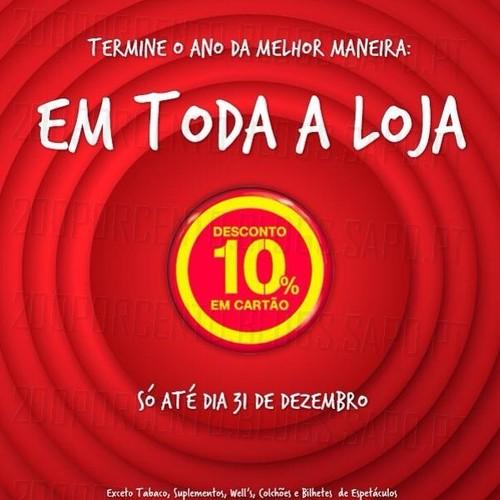 Termine o ano da melhor maneira com 10% de desconto em Cartão Continente em todas as Lojas Continente e Loja Online Continente de 29 a 31 dezembro