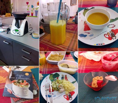 Jantar na Bimby: Néctar de laranja, Sopa de corteje e cenoura, Arroz e carne com molho béchamel, Gelado de frutos silvestres com banana cozida em canela e açúcar. Feito tudo na hora, excepto o gelado que foi no dia anterior