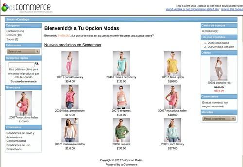 Loja de roupa online opçao 2