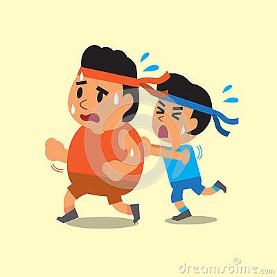 cartoon-sport-man-helping-fat-man-to-run-design-62