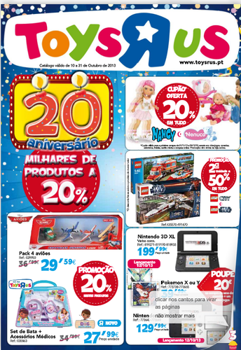 Novo Folheto Toysrus, de 10 a 31 Outubro