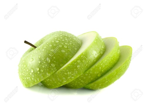 19206193-Isolated-green-apple-slices-with-water-dr