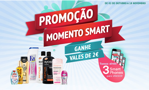 Vale de 2€, e sorteio de 3 Smart Phones, Momento Smart