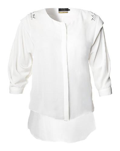 Camisa branca com apliques nos ombros - 89,90€ 6ffebe0219