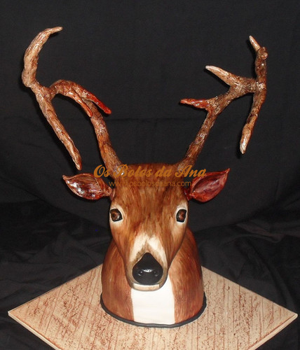 Bolos Veado, Bolos Animais, Bolos Caçadores, Bolos Decorados Animais, Bolos Réplicas 3D, Bolo artistico Troféu Veado 3D, Deer Cake