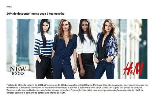 Cupão 20% de desconto | H&M | até 2 março