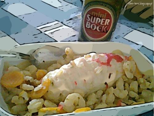 lombo de lagosta com camarões descascados e super-bock mini gelada