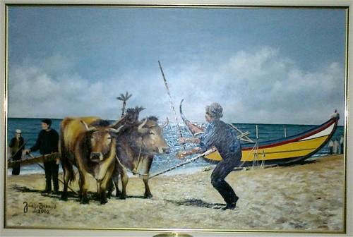 Arte xávega na praia do Furadouro, pintado por: Jorge Barros