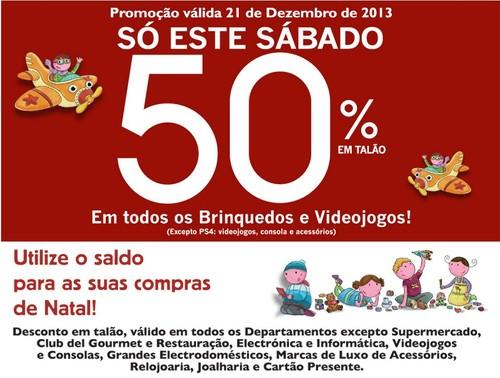 Desconto de 50% | EL CORTE INGLÉS | Brinquedos e Videojogos, Apenas Hoje 21 dezembro