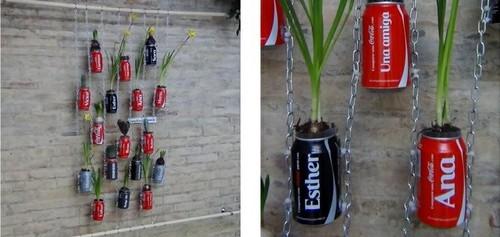 jardim vertical latas : jardim vertical latas:Um jardim vertical com latas de refrigerante – Decoração e Ideias
